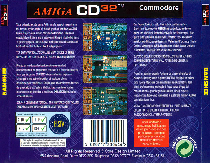 Banshee - Amiga  CD32 Box Scan - Back