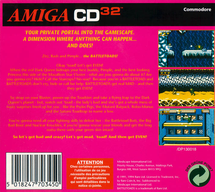Battletoads - Amiga  CD32 Box Scan - Back