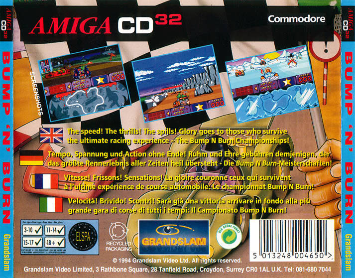 Bump 'n' Burn - Amiga  CD32 Box Scan - Back