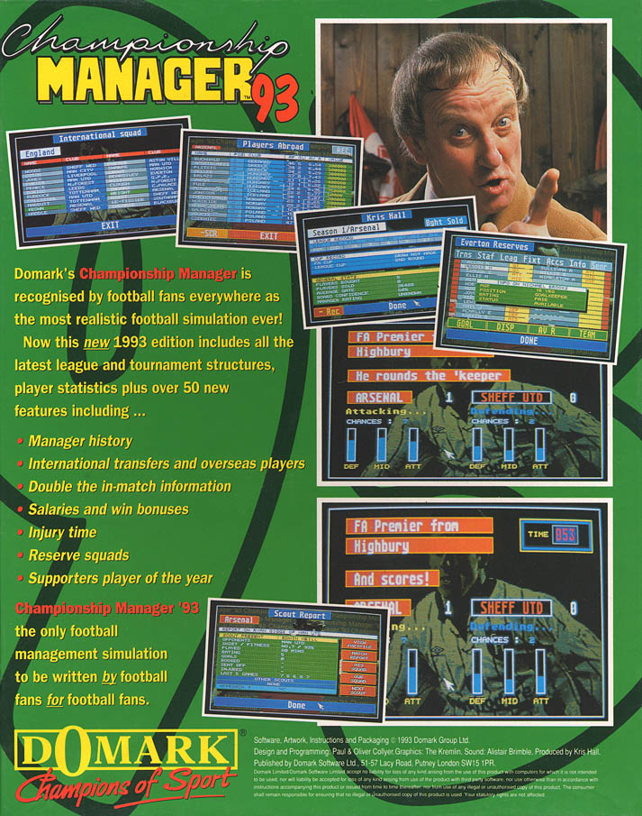 Championship Manager '93 - Amiga Box Scan - Back