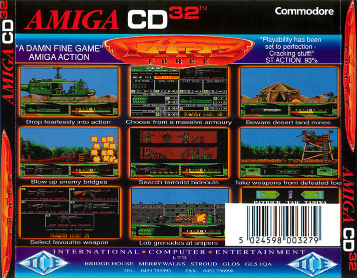 Fire Force - Amiga  CD32 Box Scan - Back