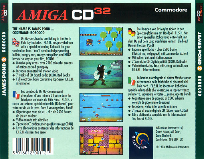 James Pond 2: Codename RoboCod - Amiga  CD32 Box Scan - Back