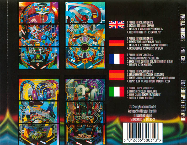 Pinball Fantasies - Amiga  CD32 Box Scan - Back