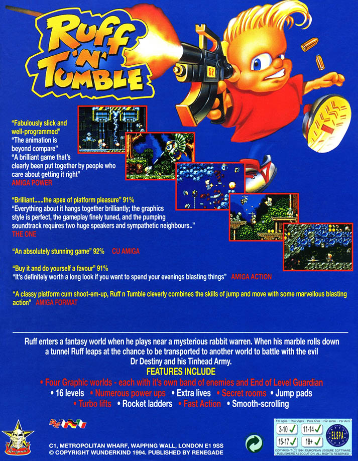 Ruff 'n' Tumble - Amiga Box Scan - Back