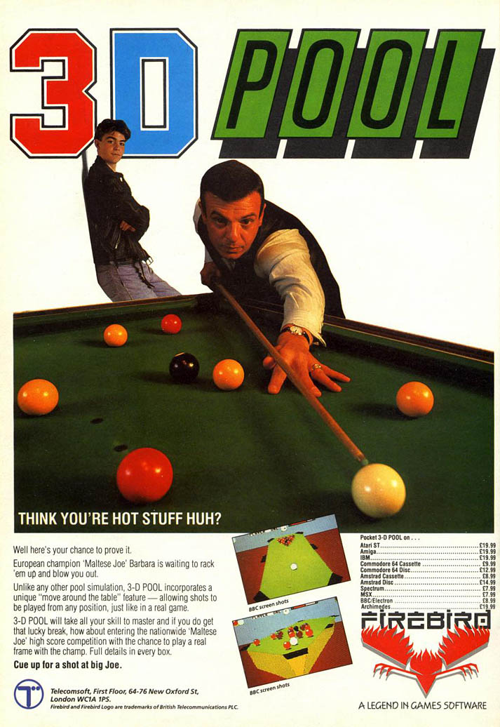 3D Pool - Amiga Advertisement scan