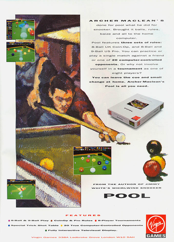 Archer Maclean's Pool - Amiga Advertisement scan