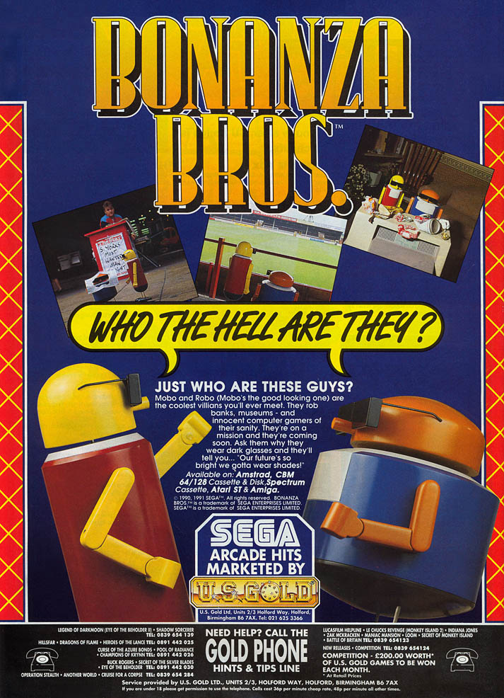 Bonanza Bros - Amiga Advertisement scan