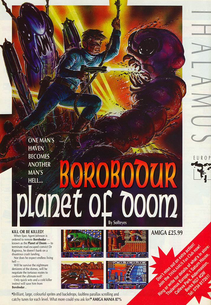 Borobodur: The Planet of Doom - Amiga Advertisement scan