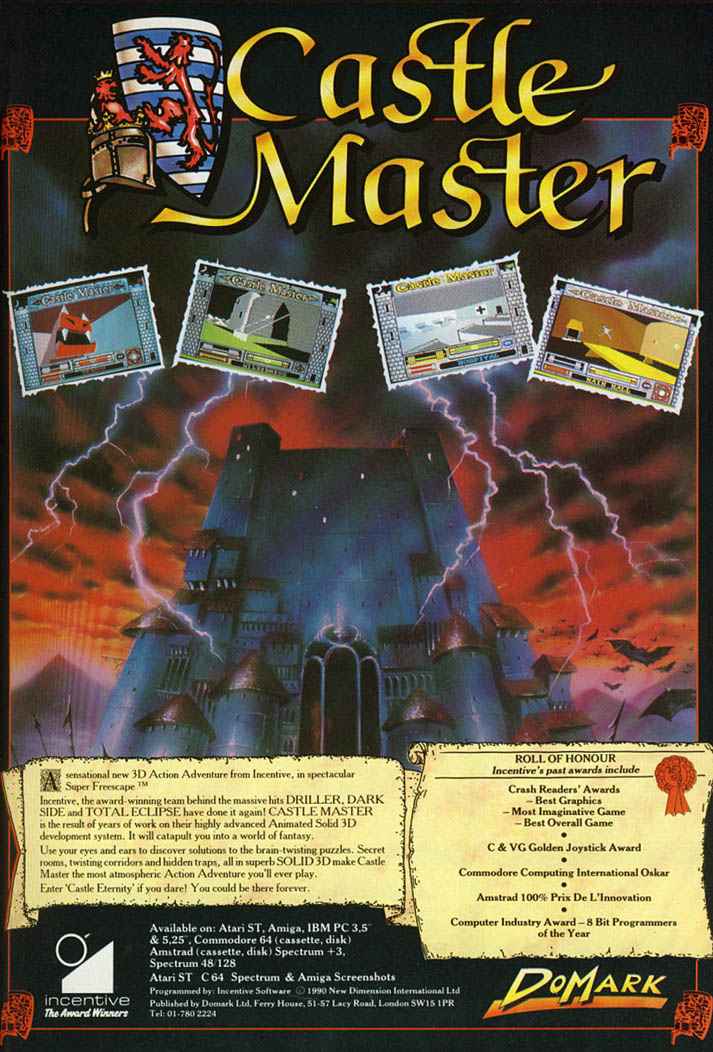 Castle Master - Amiga Advertisement scan