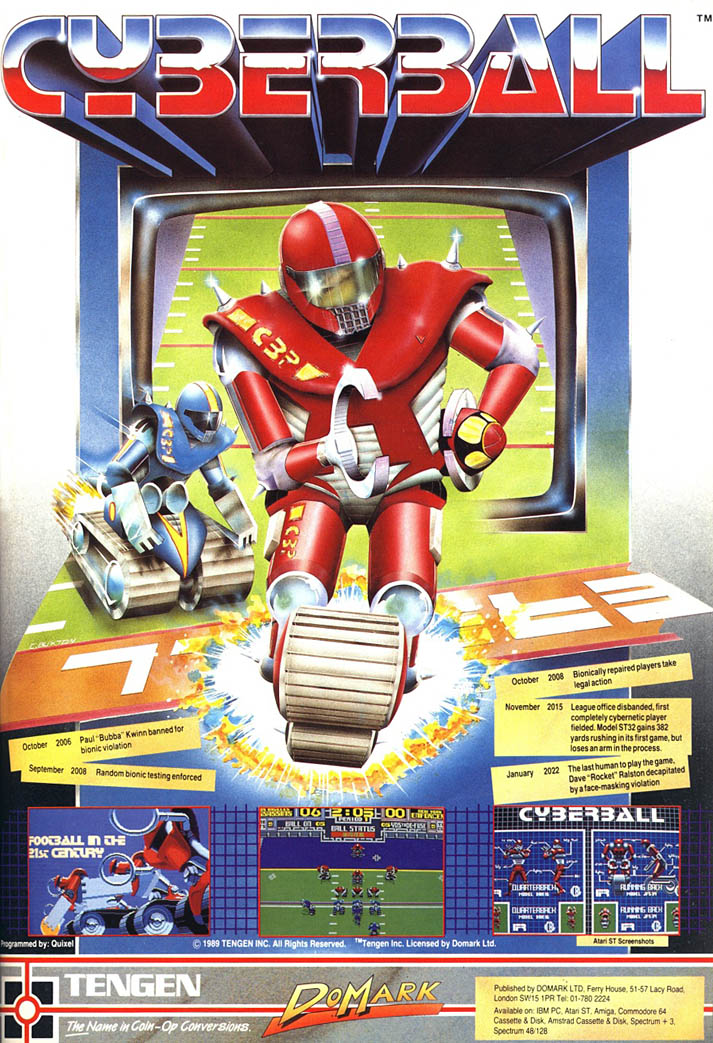 Cyberball: Football in the 21st Century - Amiga Advertisement scan