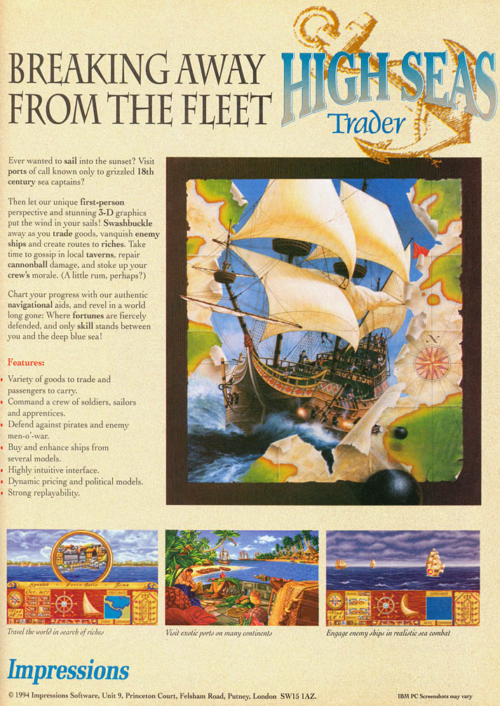 High Seas Trader - Amiga Advertisement scan