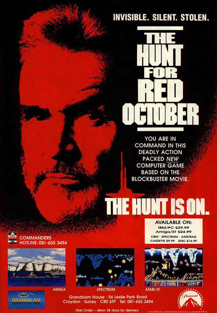 Hunt for Red October, The - Amiga Advertisement scan