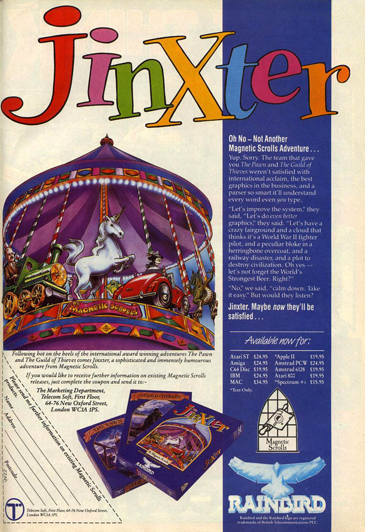 Jinxter - Amiga Advertisement scan