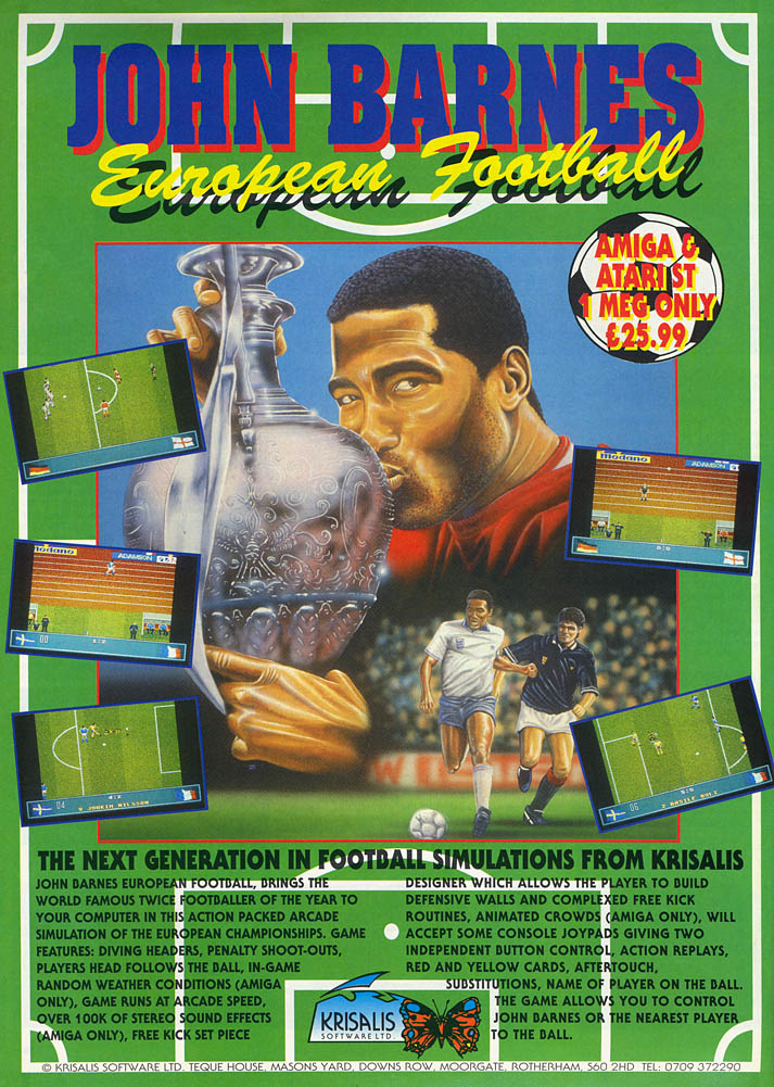 John Barnes European Football - Amiga Advertisement scan
