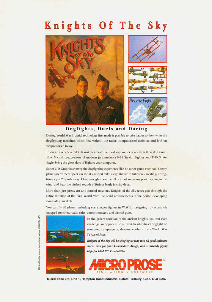 Knights of the Sky - Amiga Advertisement scan