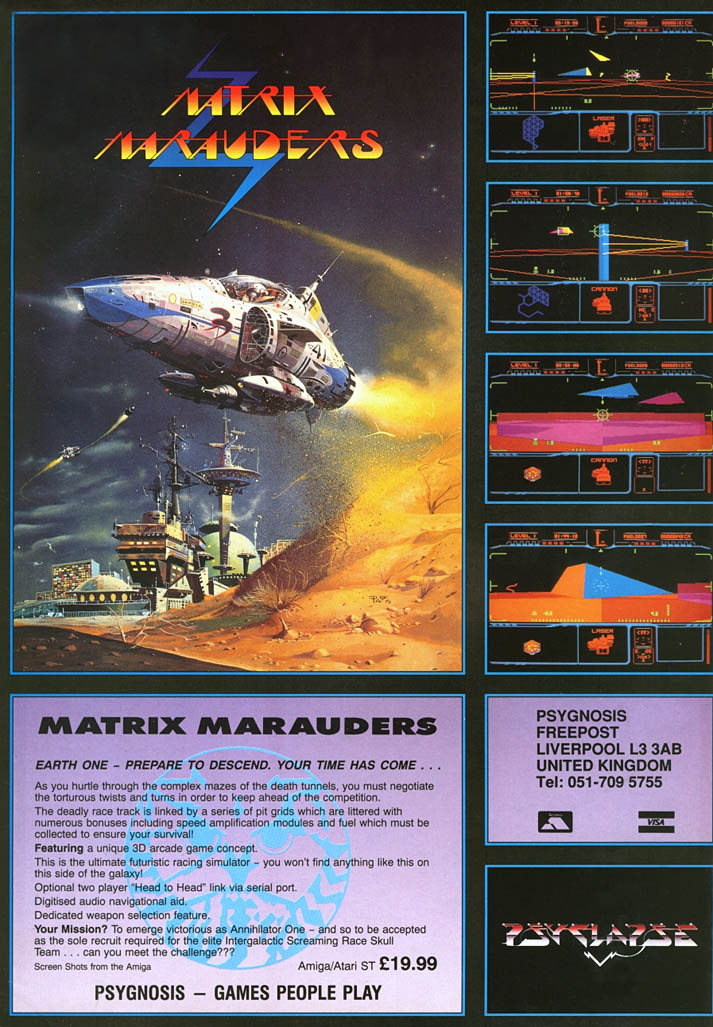 Matrix Marauders - Amiga Advertisement scan