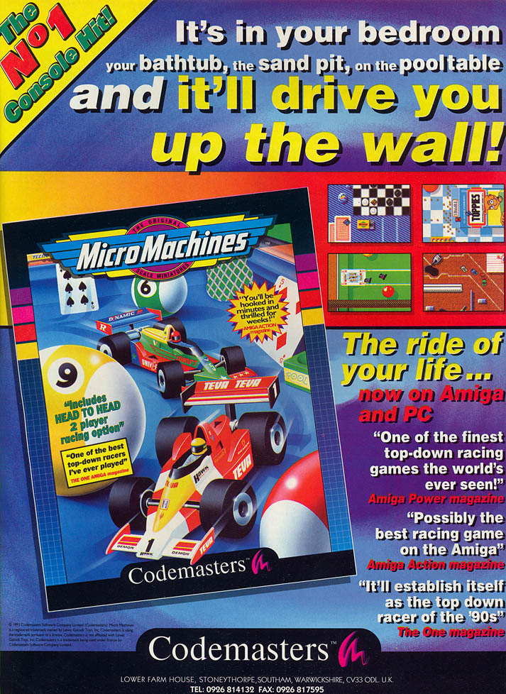 Micro Machines - Amiga Advertisement scan