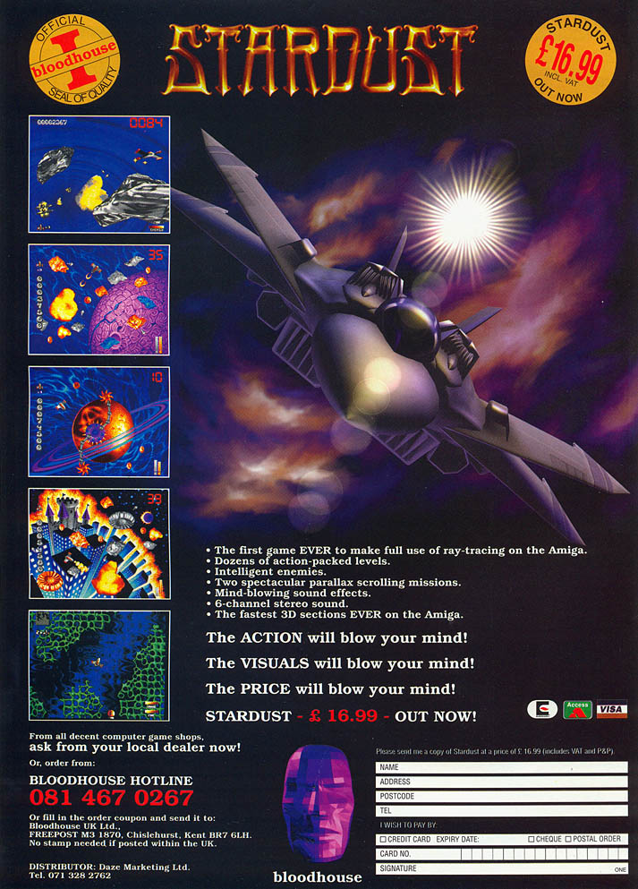 Stardust - Amiga Advertisement scan
