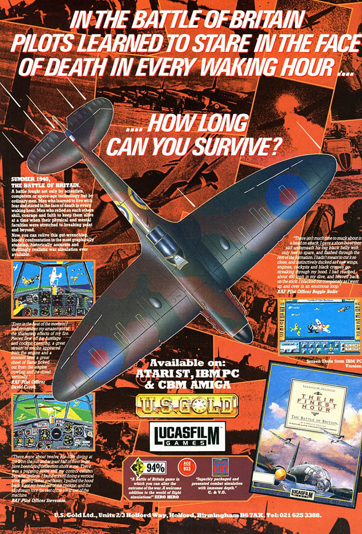 Their Finest Hour: The Battle of Britain - Amiga Advertisement scan