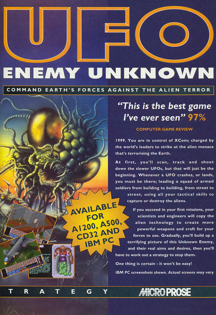 UFO: Enemy Unknown - Amiga Advertisement scan